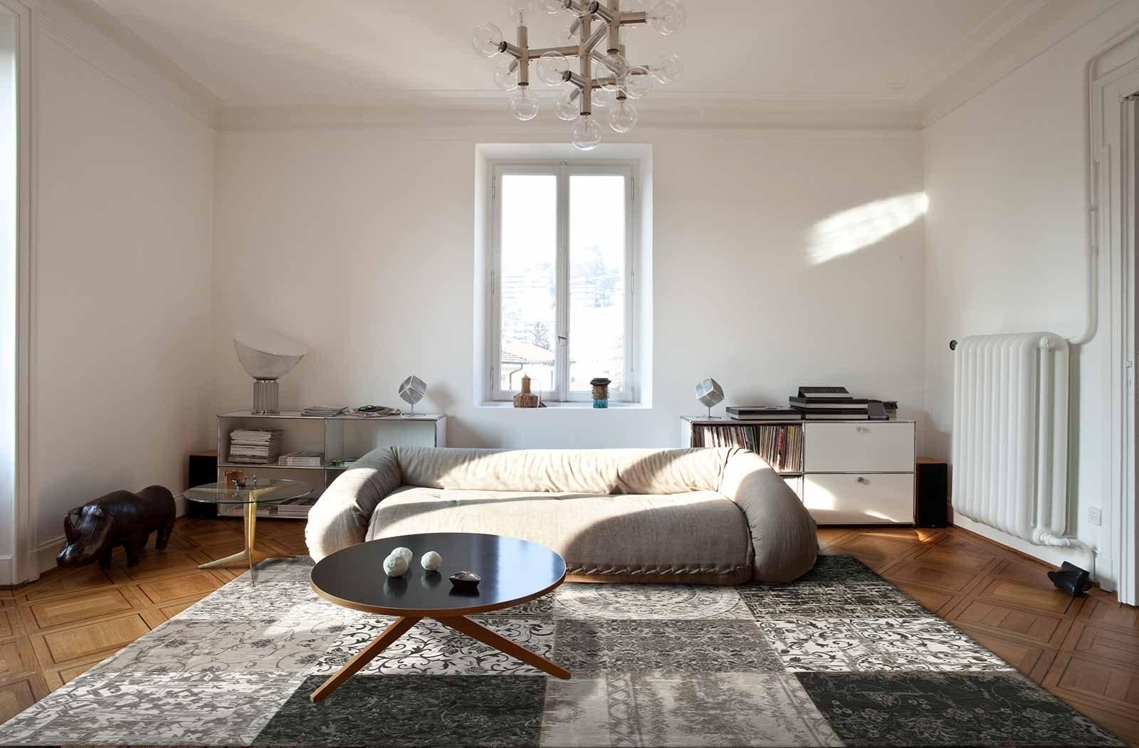 vloerkleed Louis De Poortere LX8101 Vintage Black White interior