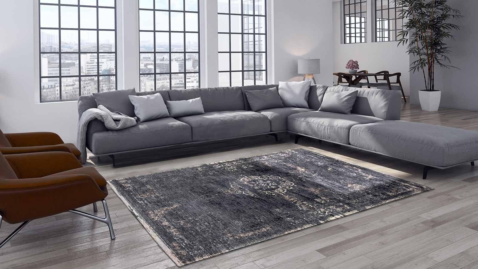 vloerkleed Louis De Poortere LX8263 Fading World Medaillon Mineral Black interior 2